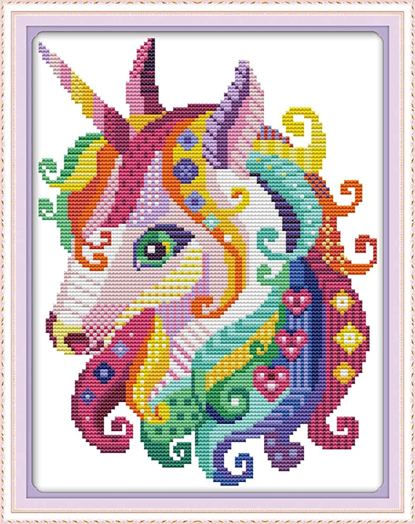 Premium Cross Stitch Stamped Kits Pre-Printed Cross-Stitching Starter Patterns for Beginner Kids or Adults, Embroidery Needlepoint Kits Unicorn (Stamped Unicorn28x39cm)