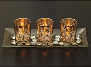 Decorative Glass Candle Holder Set with LED Tealights Ornamental Glass Stones & Glass Tray