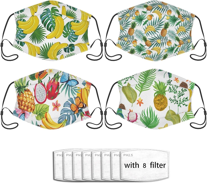 4PC Tropical Hawaii Mask Reusable Comfortable Cloth Balaclavas Breathable for Adult for Men & Women