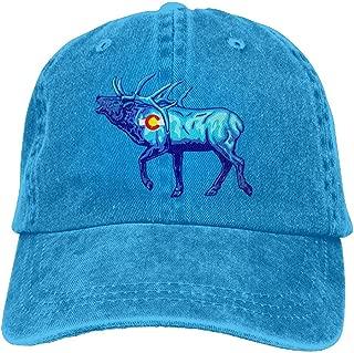 Elk - Colorado Flag Unisex Baseball Cap Cotton Denim Adjustable Hiphop Cap for Men Women