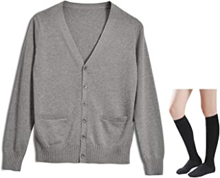 Long Sleeve deep V-Neck Knitted Button up Cardigan Sweater Anime Japanese School Girl Uniform with Socks Set