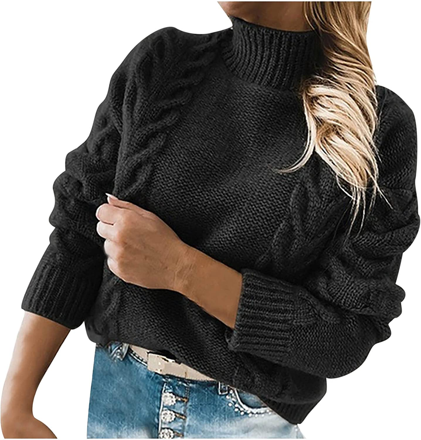 Women's Turtleneck Pullover Tops for Ladies Autumn Winter Knitted Sweater Fashion Casual Long Sleeve Blouse Shirts