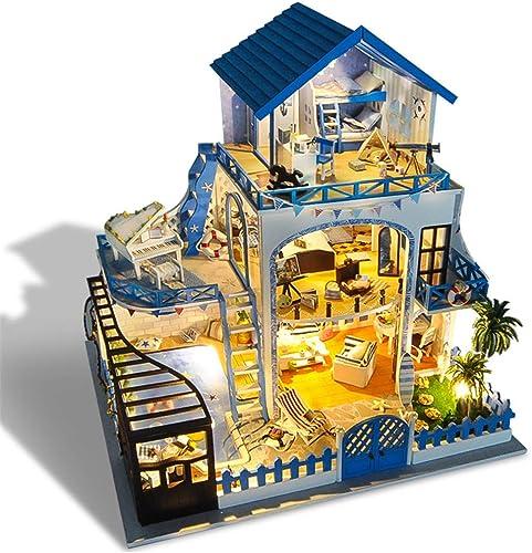 Kinder Spielzeug, DIY Haus wieder treffen die Liebe Meer Villa kreative Geschenk aus Holz Handwerk manuelle Montage Modell aus Holz DIY Dollhouse Mini handgefertigte Kit für mädchen Kabine M hen Dek