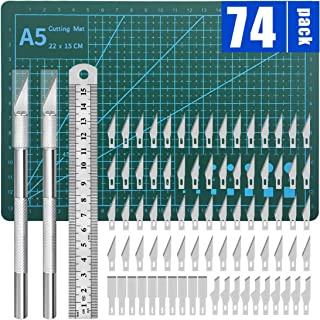 Precision Hobby Knife Set Carving Craft Knife for DIY Art Work Cutting,Hobby, Scrapbooking,Stencil(2Knives+50Blades+1Pcs A...