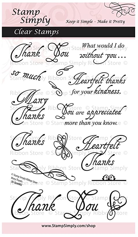 Stamp Simply Clear Stamps Thank You Many Thanks Heartfelt Gratitude Set 4x6 Inch Sheet - 16 Pieces