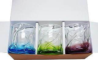 流氷グラス3個ギフトセット(水・緑・紫) 【感謝をこめて沖縄伝統工芸品を贈ります】