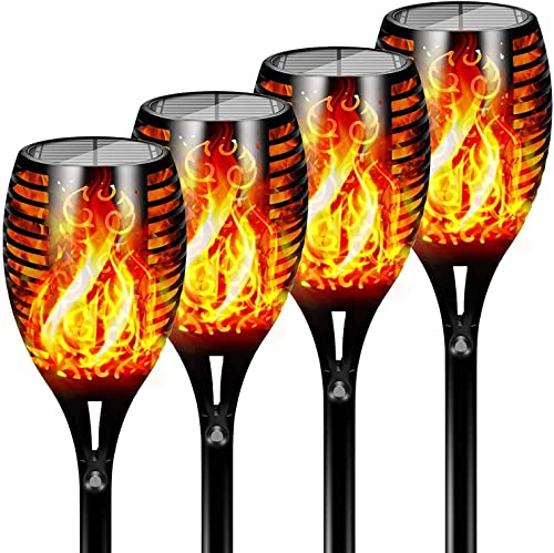 FLOWood Torche de Jardin Torche Solaire Lampes d'Eclairage de Flamme Imperméable LED Extérieures vacillantes de sécur...