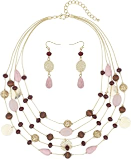 Jewellery Set 18 Inch Necklace Lilac Cat/'s Eye And Square Beads Dangle Earrings-Drop Earrings Trapese Pendant