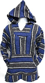 Unisex Jerga/Baja/Mexican Blanket Woven Hoodie (Medium, Charcoal Dark Blue)