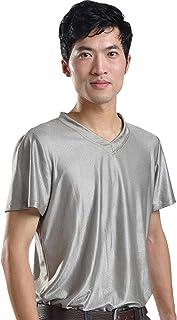 LVFEIER EMF Radiation Shield Men T-Shirt V-Neck Silver