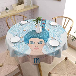 HouseLookHome Zodiac Scorpio Beach Tablecloth Young Astrology Lady with Blue Hair as Scorpion Tail and Floral Details Tablecloths for Parties 39 Inch Round Multicolor