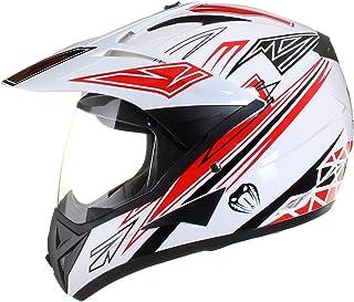 Qtech - Motocross-Helm mit Visier - für Offroad/Enduro/Touring Sport - Rot - XL 61-62 cm