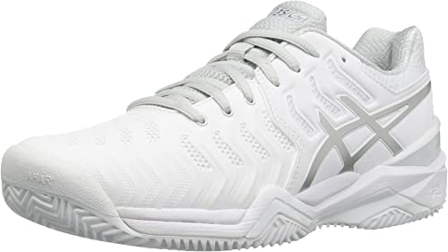 ASICS Wouomo Gel-Resolution 7 Clay Court Tennis sautope, bianca argento, 11 M US