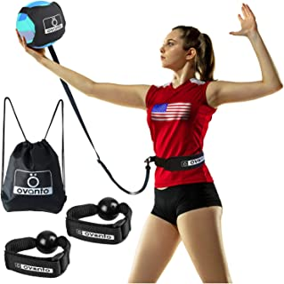 """OVANTO Volleyball Training Equipment Aid - Solo Volleyball Trainer Kit to Serve & Spike Like A Pro - Fits 20-46"""" Waists, R..."""