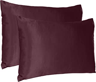 Soft Comfortable Pillowcase Silky Satin Silk Pillow Cover for Hair & Skin Home Decor (Grape Wine, King Size, 20X40 INCHES)
