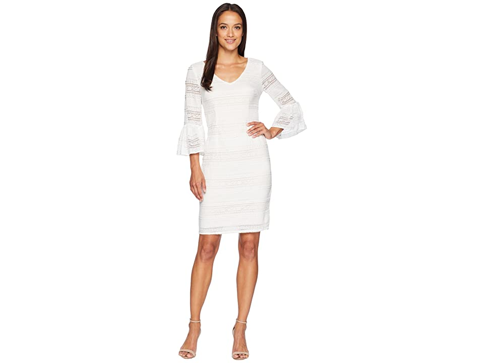Adrianna Papell Ava Lace Bell Sleeve Dress (Ivory/Powder) Women