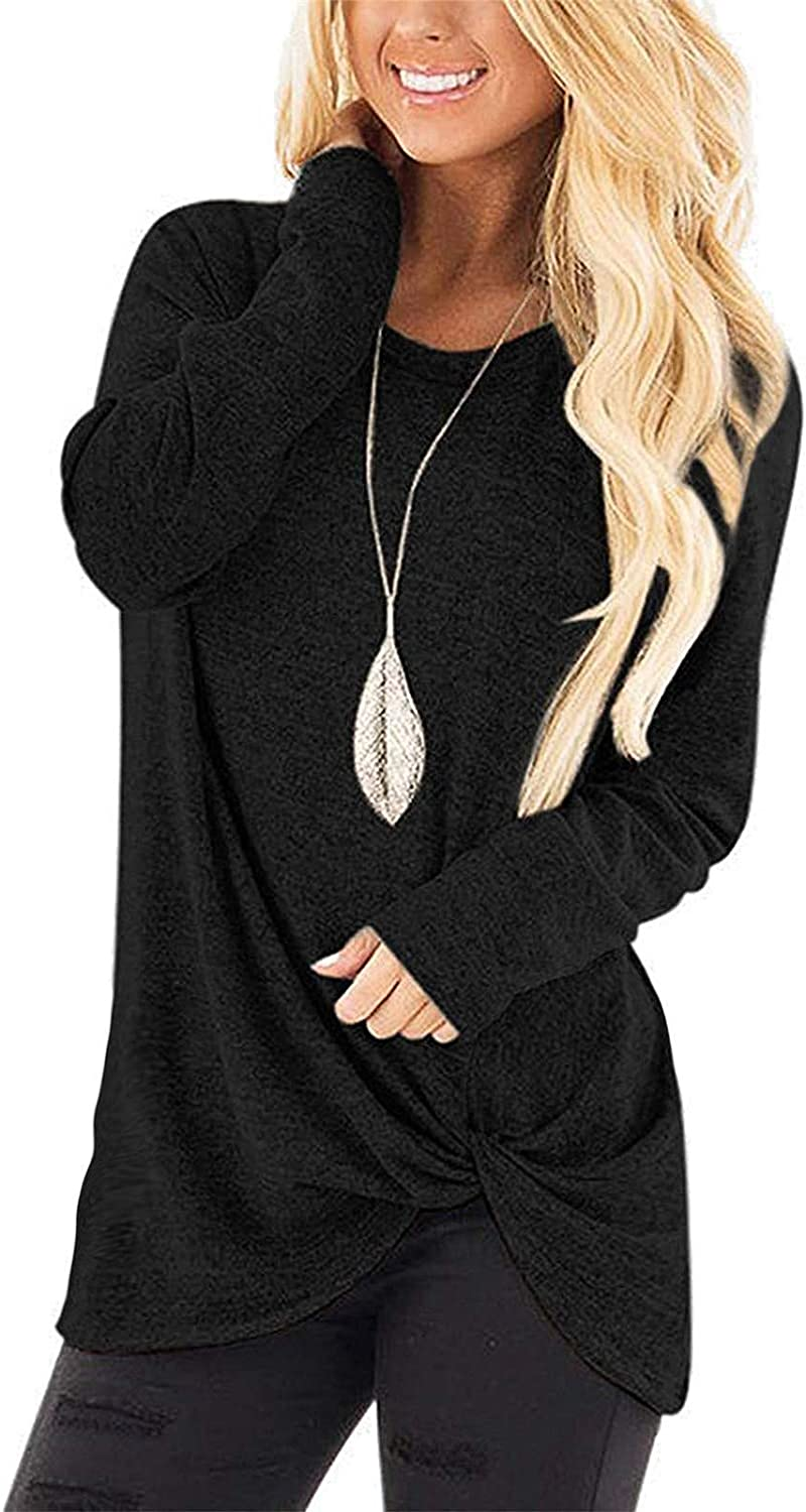 onlypuff Womens Long Sleeve Shirts Casual Side Twist Knotted Tunic Tops
