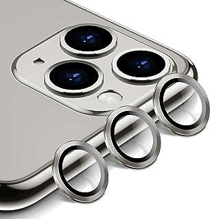 BANNIO Protector Cámara para iPhone 11 Pro/iPhone 11 Pro MAX3 en 1 HD Film Vidrio Cristal Templado Cámara Trasera Lente Borde de Metálico para iPhone 11 Pro/iPhone 11 Pro MAX - Plata