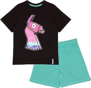 Fortnite Glow In The Dark Boys Short Pyjamas Set Black/Teal Juego de Pijama para Niños