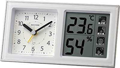 リズム(RHYTHM) 目覚まし時計 電子音アラーム 高精度 温度 湿度 連続秒針 白 8RE678SR03 8.6x16x4.8cm