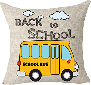 FELENIW Student gift Back To School Yellow School Bus Throw Pillow Cover Cushion Case Cotton Linen Material Decorative 18x18 inches