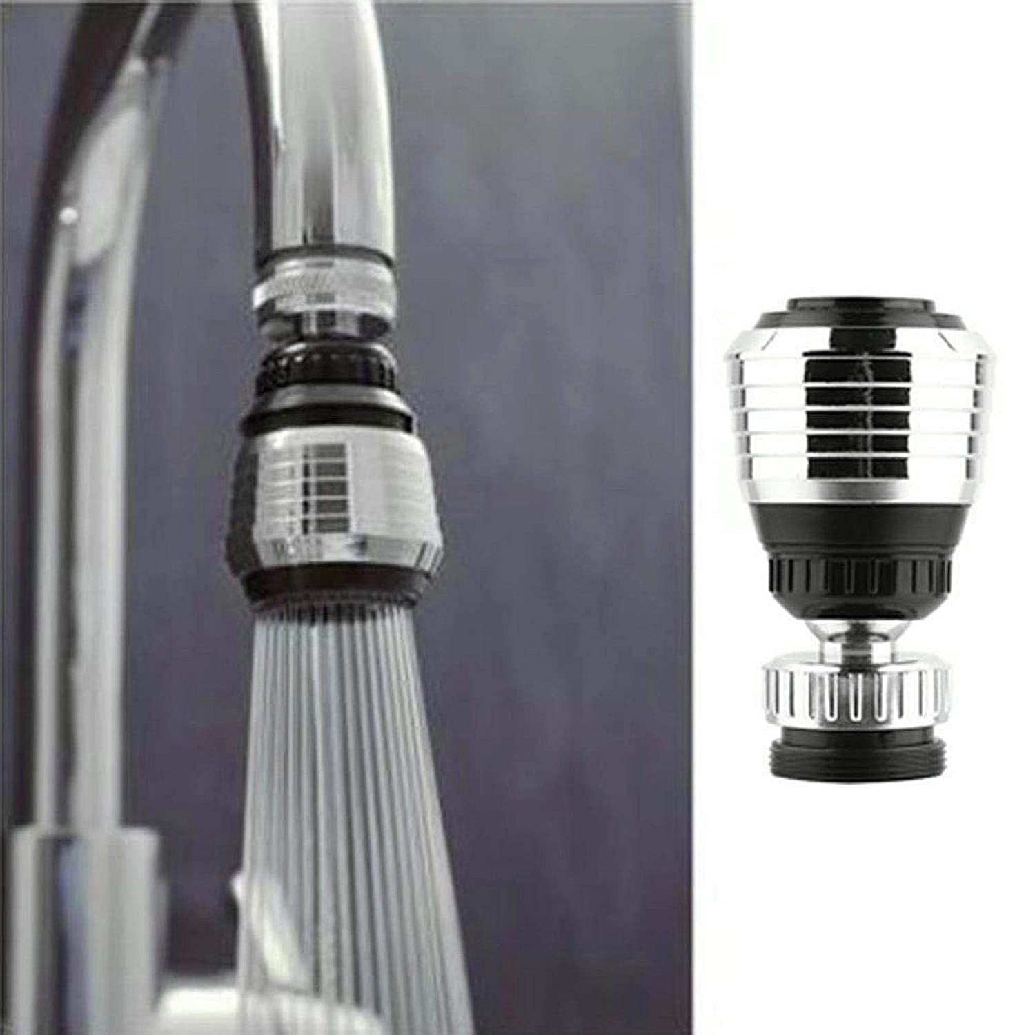 360 Rotate Swivel Water Saving Tap,Movable Flexible Aerator Extender For Toddlers Kitchen Tap Head With Filter Adapter Sliver Black