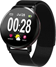 Amerzam Smart Watch Smart Band Activity trackerSmartWatch Bracelet for iPhone Android Phones Fitness Tracker Heart Rate Bluetooth Touch Phone Notification SMS Sports Fitness Tracker Zinc Alloy Band