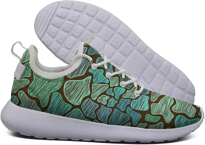 Hoohle Sports Womens Green Giraffe Skin Flex Mesh Roshe 2 Lightweight Beautiful Fashion Sneakers shoes