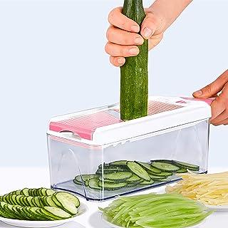 Manuel Coupe-légumes,Multifonction Coupe-oignon Dicer Cuisine Trancheur de Mandoline avec Récipient et 3 Lames,Aliments Sa...