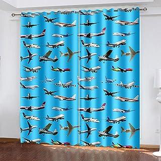 3D高清打印 遮光窗帘 隔音 防寒 隔热 保暖 防紫外线 时尚 悬垂窗帘 2片装 节能 高档布料 客厅卧室用 可机洗-飛行機 280*245cm