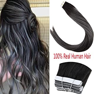LaaVoo 20 inch Strongest Double Sided Tape in Real Human Hair Extensions Ombre Black Mixed with Grey Silver Highlighted Tape in Hair Straight Extensions 1.5inch width 20pcs/50grams