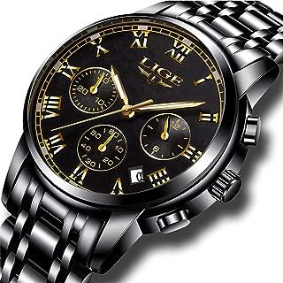 Watch Men Fashion Sport Quartz Clock Mens Full Steel Dress Watches Top Brand LIGE Luxury Business Waterproof Wristwatch Black Casual Clock