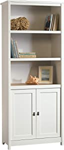 "Sauder 417593 Cottage Road Library with Doors, L: 29.29"" x W: 13.98"" x H: 71.50"", Soft White finish"