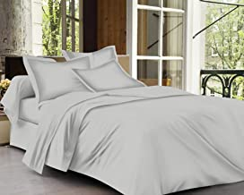 Trance Home Linen Cotton 400TC Plain King Fitted BedSheet with 2 Pillow Covers-Silver Grey