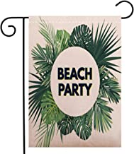 BEIVIVI Creative Home Garden Flag Summer Hawaiian Flyer Design with Green Tropical Plants and Palm Leaves Welcome House Flag for Patio Lawn Outdoor Home Decor, Polyester 12 x 18 inch