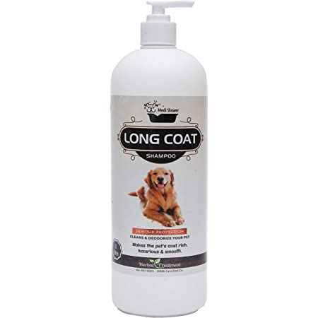Medilogy Biotech Dog Shampoo Long Coat Ayurvedic White Color 1 Litre for Shiny Luxurious Smooth Healthy Coat Texture
