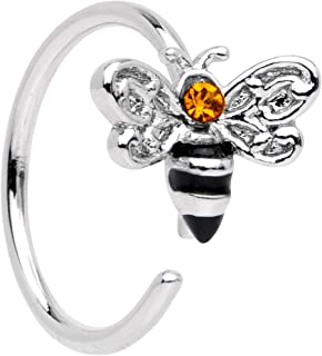 20G Steel Yellow Accent Bumble Bee Nose Ring 8mm Nose Hoop Ring Seamless Circular Ring 5/16