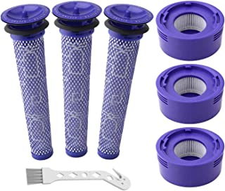 6 Pack Vacuum Filter Replacement Kit for Dyson Dyson V8+, V8, V7 Absolute Animal Motorhead Vacuums, 3 HEPA Post Filter, 3 ...