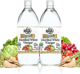 ORGANIC Distilled White Vinegar (2-Pack) - De La Rosa 32oz - Raw & Unfiltered   Vegan, Gluten-Free, Kosher   Great for sal...