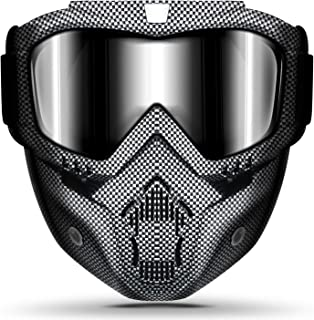 Motorcycle Helmet Riding Goggles Glasses With Removable Face Mask,Detachable Fog-proof..