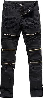 Men's Distressed Ripped Biker Moto Denim Pants Slim Fit Zipper Jeans