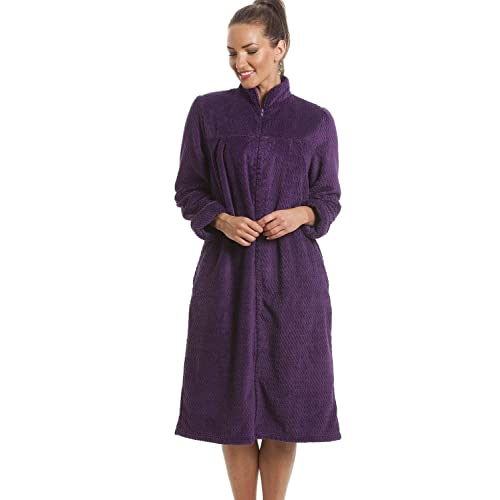 c120b48b51 Camille Womens Zip or Button Front Dressing Gown House Coat