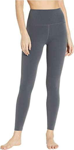 2c70c1b4be139 Beyond Yoga. True To Stripe High-Waisted Midi Leggings. $99.00. Charcoal  Heather Gray