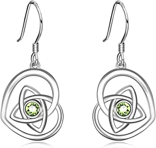 AOBOCO 925 Sterling Silver Irish Celtic Knot Earrings French Hook Love Heart Dangle Earrings with Swarovski Crystals, Jewelry Gifts For Women