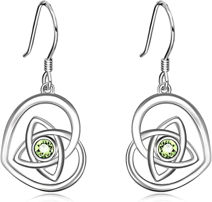 8ca683bf2 AOBOCO 925 Sterling Silver Irish Celtic Knot French Hook Dangle Earrings  With Green Swarovski Crystals,