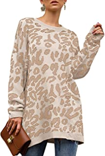 NACY Womens Casual Leopard Print Oversized Pullover Sweaters for Women Long Sleeve Crew Neck Knit Tunic Tops