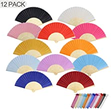 HIGOGOGO Handheld Folding Fans, 12pcs Silk Bamboo Foldable Fans for Women in Bulk with Organza Bags, Hand Fans for DIY, Weddings Gifts, Birthday, Church Decoration, Party Favors, Multicolor