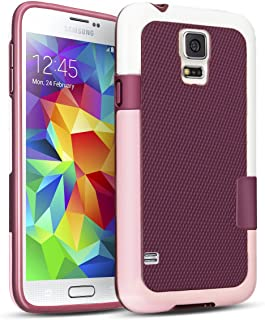 TILL Galaxy S5 Case, (TM) Hybrid Impact 3 Color Rugged Case, Soft PC Bumper + Soft TPU Back Shockproof Protective Slim Cover Shell for Samsung Galaxy S5 I9600 GS5 G900V(White, Pink & Red)