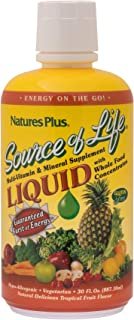 NaturesPlus Source of Life Liquid - 30 fl oz - Tropical Fruit Flavor - Wholefood Supplement, Energy Booster, Antioxidant - Vegetarian, Gluten-Free - 30 Servings