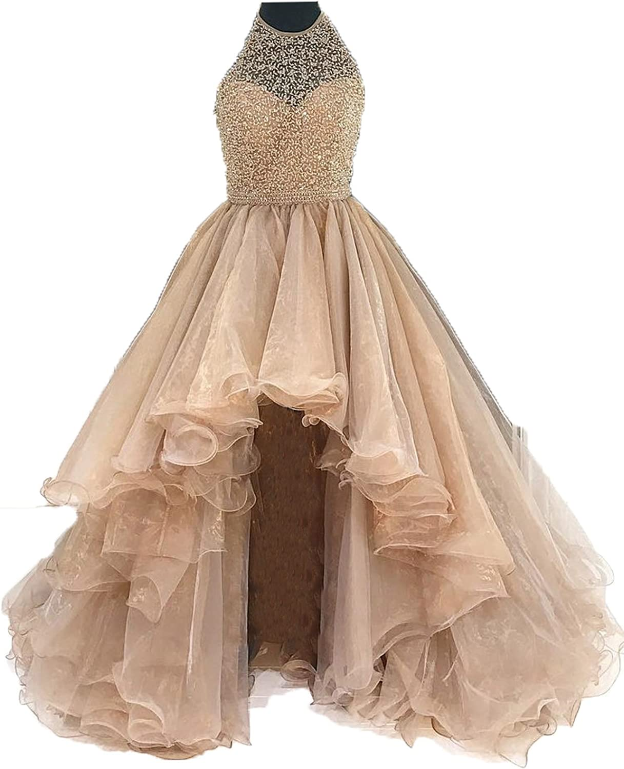 Siaoryne A Line Halter Beading Prom Dresses High Low for Juniors Corset Back Nude Pink 18W